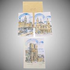 3 Vintage Colored Historic London Signed Prints  I McIver
