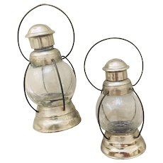 A Pair (2) Railroad Lantern Style Glass Metal and Wire Mini Candy Holders, 1920's - 30's