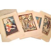 Saint Apollonia (Patron Saint of Dentistry) 4 Prints Royal School Of Dentistry, Stockholm / Astra Pharmaceuticals 1960's.