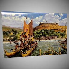 SS Constitution American Hawaii Cruises Luncheon Menu - The Arrival of Keoua by Herb Kane
