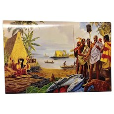 American Hawaii Cruises Luncheon Menu  Herb Kane Artist  Painting King Kamehameha at his home in Kailua-Kona