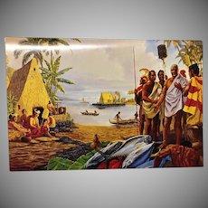 American Hawaii Cruises Luncheon Menu  Herb Kane Artist  Painting King Kamehameha at his home in Kailua-Kona