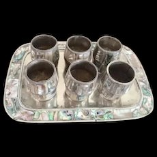 Alpaca Silver and Abalone Cordial Set on Tray from Mexico circa 1950's - Red Tag Sale Item
