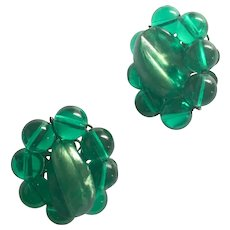 Emerald Green Lucite Hand Wired Bead Clip Vintage Earring