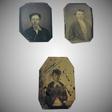 Tin Type Set of 3 Portraits from Ithaca, New York