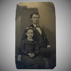 Victorian Tin Type Photo Father and Daughter Portrait