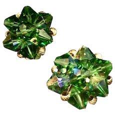 Vintage Emerald/Aurora Borealis Clustered Crystal Clip Earrings