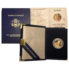 Rare Gold Bullion 1991 American Eagle 1/4 Oz Proof Coin Original Box, COA & Case