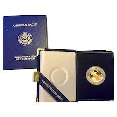 Gold Bullion 1990 American Eagle 1/2 Ounce Proof Coin Original Box & Case
