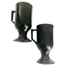 Clearance!  Pair of Black Fire King Glass Irish Coffee Mugs