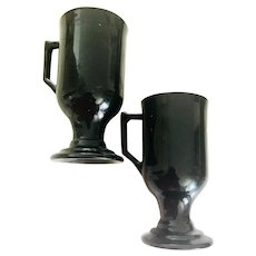 Vintage Pair of Black Fire King Glass Irish Coffee Mugs