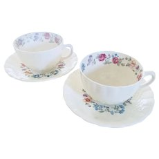 Vintage Fondeville Ambassador Ware Oakwood Pattern Pair Tea Cups and Saucers, England