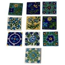 Colorful Painted Floral Motif Tile Set of 10, Vintage 1980's