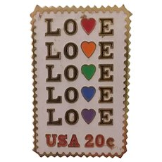 USA Love Stamp 20 Cents USPS US Postage Vintage Gold Tone Metal Pin Pinback