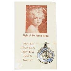 Rare Light of the World Medal Vintage 1950s on Original Card