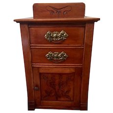 Antique French Hand Carved Oak Small Chest / Commode-2 Drawers, Cabinet