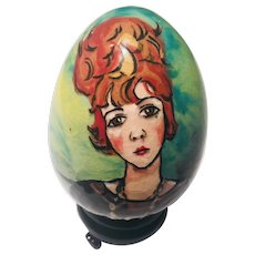 Hand Painted Lacquer Portrait  Egg on Black Base Signed Modagliano 6/25