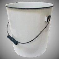 Vintage Porcelain Enamelware Bucket Pail, Wood Handle White with Black