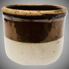 Antique Farmhouse Crock in Brown and Beige late 1800's - early 1900's