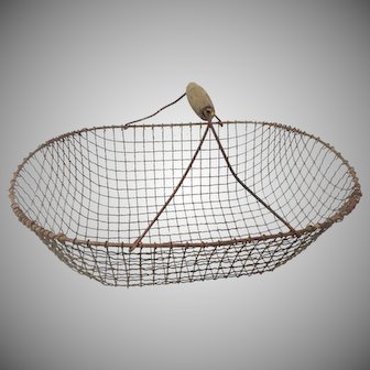 Antique Farm and Garden Wire Gathering Basket / Harvest Trug