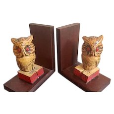 Hand Carved Mid Century Wood Owl Bookends Perched on Open Books