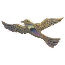 Flying Copper Bird Brooch Abalone Accent Marked Heche En Mexico 1960s