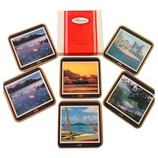 Pimpernel Vintage Set of Coasters  of Norwegian American Cruises Vistafjord