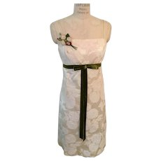 Clearance!  Satin Jacquard Ivory After 5 Dress Green Velvet Bow and Flower Accent 1960's