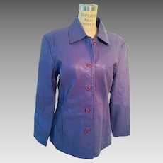 Leather Lavender Satin Lined Jacket by Motor City Colors 1980's