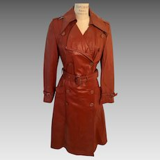 Leather Trench Coat Topskins 1970's Mod Squad Style