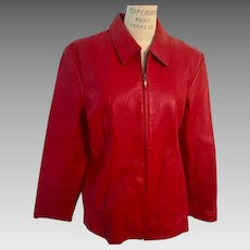Red Washable Vintage Leather Jacket by Dialogue for QVC Zip Front 1990