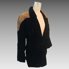 Atlantic Beach Split Pig Suede Fringed Black/Cheetah Print Blazer/Jacket 1980s