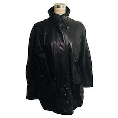 g4000 Vintage Black Leather Jacket Shirred Waist and Hem 1980's