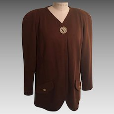 Leggera di Laric Vintage Coca Brown Wool  Tunic Italy