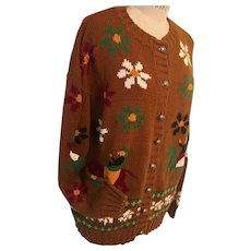 Boundary Waters Vintage Cardigan Fall Floral  Horse & Rider Theme 1980s