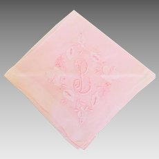 Cutwork and Embroidered Pale Pink Cotton Voile Handkerchief  Embroidered Initial