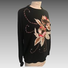 Appliqued and Beaded Black Silk Angora Nylon 1980's Sweater Laura Winston