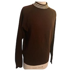 1960's Acrylic Mock Turtleneck Brown Sweater Triple Stripe Collar
