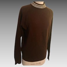 1960's Acrylic Mock Turtleneck Brown Sweater Triple Stripe Collar
