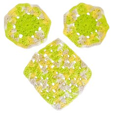 Crochet Kitchen Hot Pads Doilies Mid Century Craft-Work Set of 3