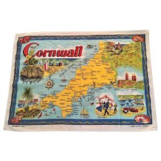 Cornwall Souvenir Tea/Kitchen  Linen Cotton Towel 1980's