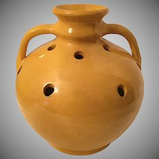 North Carolina Pottery Jug Flower Frog Double Handle 1930's