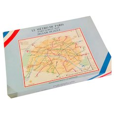 Jig Saw Puzzle Le Metro de Paris Vintage Subway Street Map of Paris 1972