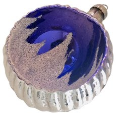 Mercury Glass Silver Royal Ornament with Snow Covered Tree Concave Design