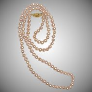 Pink Freshwater Pearl Handknotted 24 Inch Necklace 4mm with Gold-tone Clasp