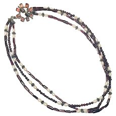 Garnet Freshwater Pearl Antiqued Silver Hand Crafted Necklace