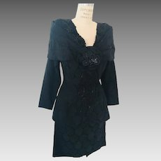 Black Jacquard Shawl Collared Beaded Evening Suit by Charisse