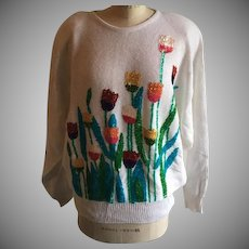 Sequin Tulip Garden Vintage Sweater by Cervelle 1990's