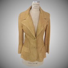 Stretch Gold 1970's Blazer with Metallic Threads Woven Throughout