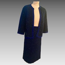 1950's Black & Blue Jacquard Knit Metallic 2 Piece Evening Suit